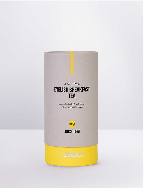 From Selfridges Selection, our English Breakfast loose leaf tea contains an unbashedly British blend of malty Indian Assam, oaky Ceylon, rich Kenyan and fruity Keemun from Qimen, China. It is perfect for standing up against the bold flavours of traditional British breakfasts such as Scottish kedgeree, kippers or a hearty fry-up.   Selfridges Selection loose leaf tea 125g Made in the UK Add 1-2 tablespoons to a tea strainer, then brew with freshly boiled water for 3-5 minutes