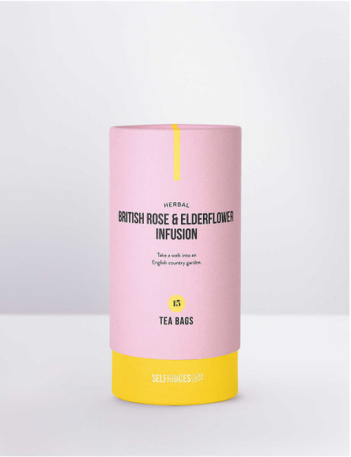 Selfridges Selection 15 Rose and Elderflower Infusion Tea Bags30g  Take a walk into an English country garden with thisherbal British rose and elderflower infusionbySelfridges Selection. This refreshing and delicate floral blend is steeped in British heritage. The rose is the national flower of England, dating back to the 15th century War of the Roses while elderflower encapsultates the taste of blooming summer hedgerows. Light, summery and unmistakably British. Selfridges Says