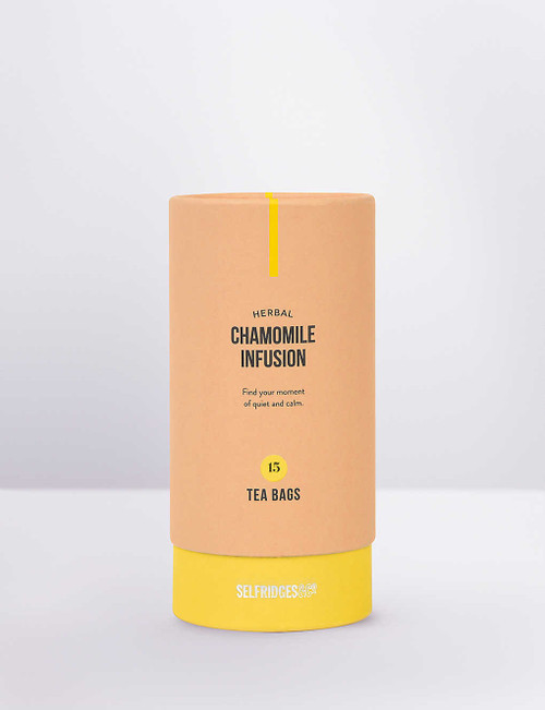 Selfridges Selection 15 Chamomile Infusion Tea Bags 22.5g  Find your moment of quiet and calm. The delicate chamomile flowers in out Selfridges Selection infusion are hand-picked in Egypt. Naturally sweet and caffeine-free, this infusion is perfect for before bedtime. If you enjoy a sweeter taste, add in a spoonful of floral honey for added flavour.   Selfridges says