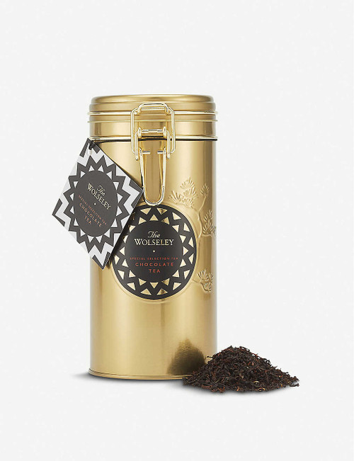 Wc The Wolseley Chocolate Tea 200g  The Wolseley Chocolate Tea loose leaf tea 200g  Ingredients Black tea, cocoa nibs, vanilla  Allergen Information For allergens, please see ingredients in bold  Storage Information Store in a cool, dry place  Country of Origin United Kingdom