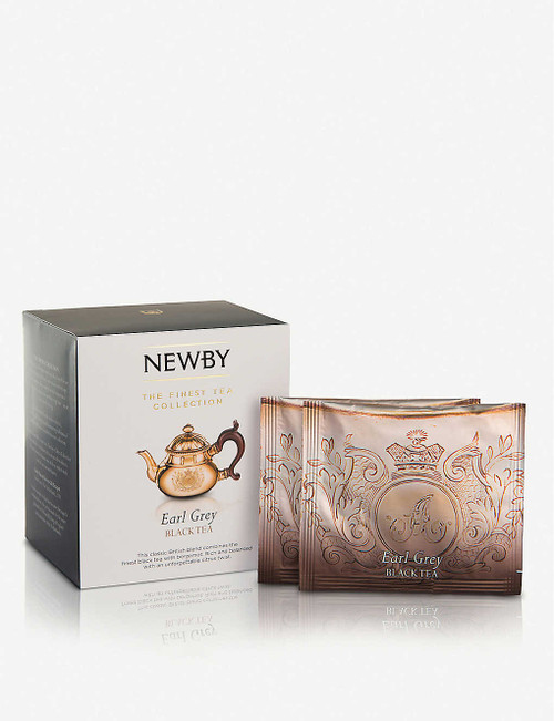 Newby Teas UK Earl Grey pyramid tea bags Silken pyramids Place one silken pyramid into freshly, fully boiled water. Brew for 5 minutes Box of 15