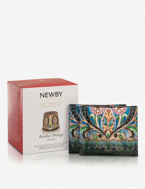 Newby Teas UK Rooibos and orange pyramid tea bags 37.5g Box of 15  Ingredients 83.75% rooibos, 8.5% orange peel, 2.5% liquorice root, 2.5% flavouring (orange flavouring, concentrated orange juice), 2% natural orange flavouring, 0.75% natural orange flavouring with other natural flavourings.  Allergen Information For allergens, please see ingredients in bold  Suitable For Ovo Lacto Vegetarian Diabetics Lactose Intolerence Ovo Vegetarian Kosher Vegans Halal Vegetarian  Nutritional Information Portion Size 2.5 g Energy - kJ 0 per 100g Energy - kcal 0 per 100g Fat (g) 0 per 100g Carbohydrates (g) 0 per 100g Carbohydrates of which Sugars (g) 0 per 100g Fibre (g) 0 per 100g Protein (g) 0 per 100g Salt (g) 0 per 100g  Storage Information Store in a cool, dry place  Country of Origin South Africa