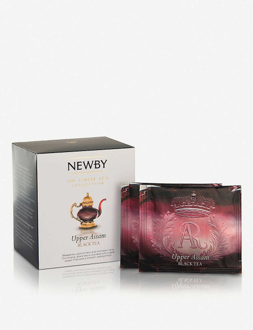 Newby Teas UK Upper Assam pyramid tea bags - Silken pyramids Box of 15  Ingredients 100% black tea  Allergen Information For allergens, please see ingredients in bold  Suitable For Ovo Lacto Vegetarian Diabetics Lactose Intolerence Ovo Vegetarian Kosher Vegans Halal Vegetarian  Nutritional Information Portion Size 2.5 g Energy - kJ 0 per 100g Energy - kcal 0 per 100g Fat (g) 0 per 100g Carbohydrates (g) 0 per 100g Carbohydrates of which Sugars (g) 0 per 100g Fibre (g) 0 per 100g Protein (g) 0 per 100g Salt (g) 0 per 100g  Storage Information Store in a cool, dry place  Country of Origin India