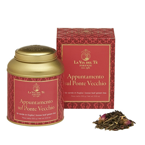 Green tea blend with sweet and fruity strawberry flavour, dedicated to the Ponte Vecchio, Florence's symbol.The oldest bridge of the city and the only one saved by the bombings of World War II, is maybe one of the most romantic bridges in Italy, the destination of lovers all over the world.  Bancha green tea, green teas, flavours, pear, rose buds, marigold, jasmine flowers