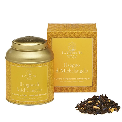 Blend of Oolong with the sweet and intense flavor of cream and chestnut, dedicated to a dream.  The statue of David, symbol of Florence and worldwide masterpiece of sculpture, created by Michelangelo from a defective block of marble, which, because of the enormous technical challenges, made this work a myth.  Chinese Oolong tea, raisin, flavours, pine kernels, cornflower, sunflower petals , sufflowers