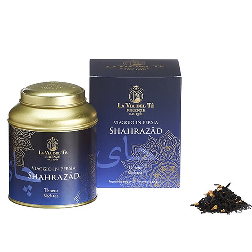 A creation inspired by the princess of the Thousand and One Nights and the fascination of ancient Persia. A sophisticated blend of high-quality black teas, with an evocative fragrance of fruit and unmistakable hints of pomegranate, symbol of love and rebirth.  Shahrazad: Black teas (India, Sri Lanka), papaya, flavours, rose petals, strawberry.