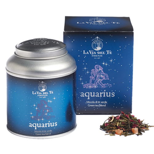 Fragrant green tea blend, inspired by the eleventh Zodiac sign, Aquarius.  Chinese green teas, Japanese green teas, papaya, flavours, rosa moschata petals, cornflower petals.