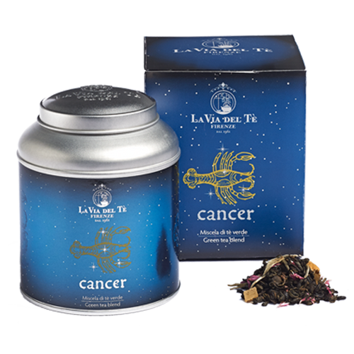 Those born under the sign of Cancer (June 22-July 22), a sign of Water along with Scorpio and Pisces, ruled by the Moon, are empathetic, sensitive, romantic, looking for security and privacy, maternal and domestic. For Cancerians, sometimes moody and clingy, deeply connected with the past, a balanced, comforting blend: green tea and Silver Needles white tea, with the intense fragrance of peach and apricot, favorite summer fruits.  Fragrant blend of green and white teas, inspired by the fourth Zodiac sign, Cancer.  Chinese green teas, flavours, pineapple pieces, white tea, rose buds, cornflower petals.