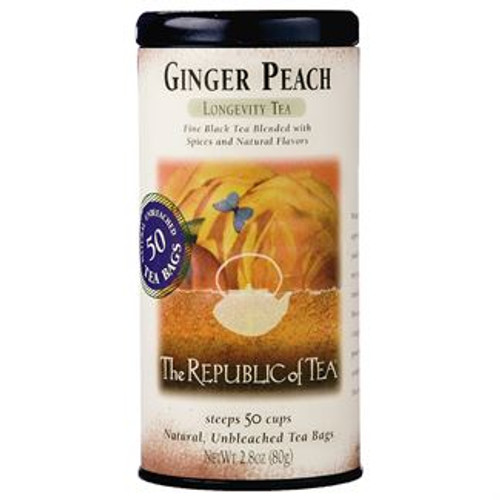 Fresh peach notes are complemented by a mild, zesty hint of ginger in this amber infusion.  Longevity Tea - This best-selling tea offers the sweet lushness of a fancy peach seasoned with the tingle of spicy ginger. Exceptional over ice.  Voted Outstanding Beverage by the National Association of Specialty Food Trade.