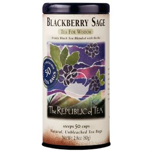 Tea For Wisdom - An enchanting blend of black tea, fruit and herbs. Finest quality tea leaves mingle with sweet, fragrant blackberries and cool, soothing white sage. The mild, head-clearing character of the white sage herb contributes to a wise tea mind.