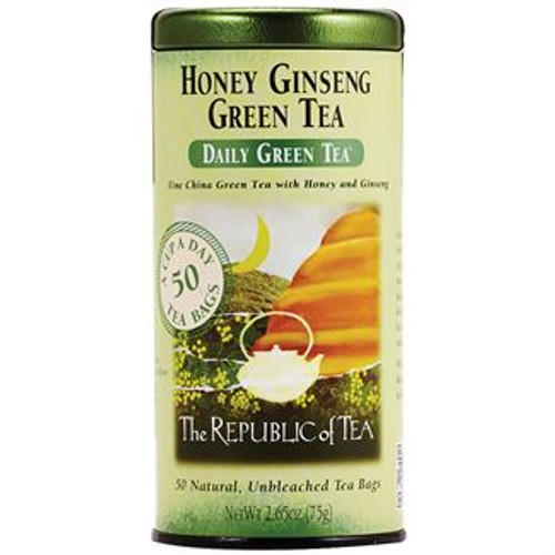 A relaxing blend combines the ancient health properties of China green tea with Panax ginseng and full blossom honey. This delicious, subtly sweet tea offers a peaceful sipping experience.