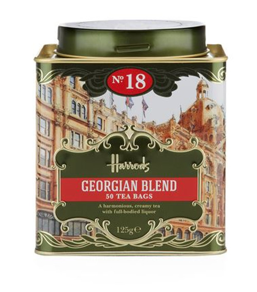 OVERVIEW  The Harrods No. 18 Georgian Blend perfectly combines Darjeeling, Assam and Sri Lankan teas to deliver a harmonious creamy cup with full-bodied liquor.  INGREDIENTS   Black Tea 100%.