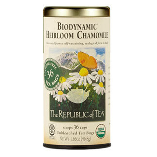 This premium, heirloom chamomile is grown on a small, 100-acre certified Biodynamic® garden at the base of the Italian Alps, and is harvested at night when the essential oils are at their peak. The sweet blossoms are then dried using only thermal energy created from the farm�s other crops. Sip into a state of tranquility with this highly aromatic and flavorful cup.