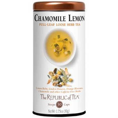 Surrender to Sleep Herb Tea - Chamomile is blended with Lemon balm, linden flowers, orange blossoms, lavender flower, skullcap, passion flower, lemon juice and valerian root to produce a fragrant & soothing cup. These potent botanicals surrender a sweet & tranquil tea - delighting palate, mind & body.