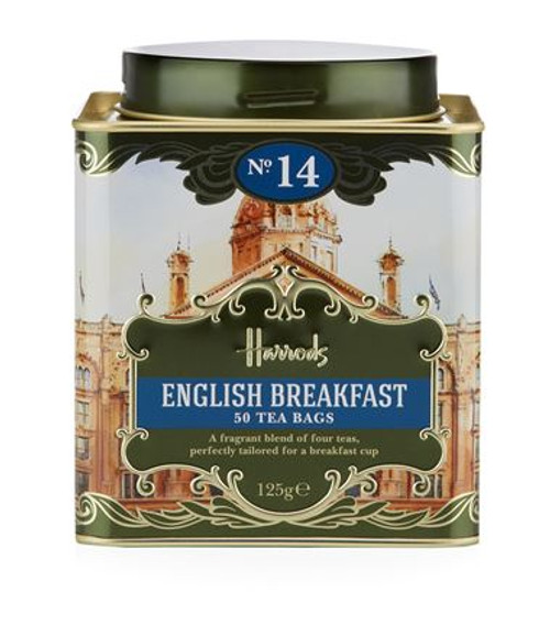 OVERVIEW  The Harrods No. 14 English Breakfast is a fragrant blend of four teas, perfectly tailored for a breakfast cup. Serve with a dash of milk for a truly British experience.  INGREDIENTS   100% Black Tea