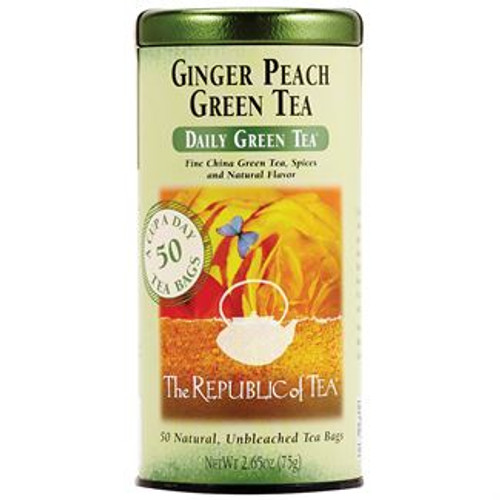 Offering the lushness of a ripe peach and the tingle of spicy ginger in a fresh green tea base. This is a flavorful and healthy cup that will make the head wiggle with delight.