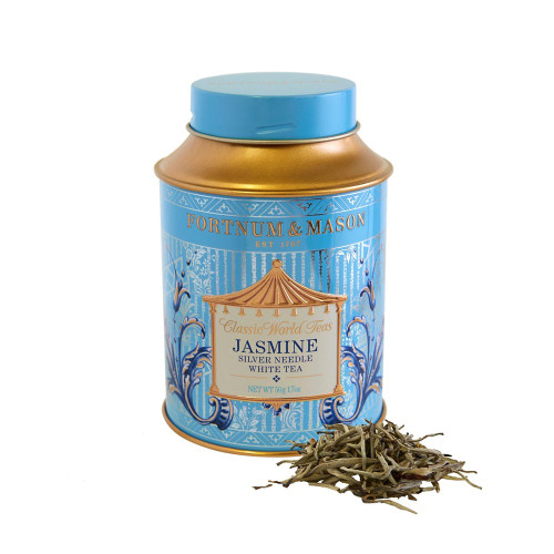 Jasmine Silver Needle White Tea is a high grade, speciality tea, unique to Fujian Province, China. Harvested in the spring, from the new season's growth, spring harvested teas are naturally high in antioxidants. The Silver Needle White Tea is layered with freshly-harvested Jasmine flowers, and left overnight allowing the Jasmine aroma to naturally scent the tea. The result is a sweet, floral tea that can be drunk at any time of day.