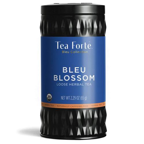 Tea Forte Bleu Blossom Butterfly Pea Blue Herbal Tea with Organic Lemon Verbena, Fruits and Ginger, Loose Leaf Tea Tin