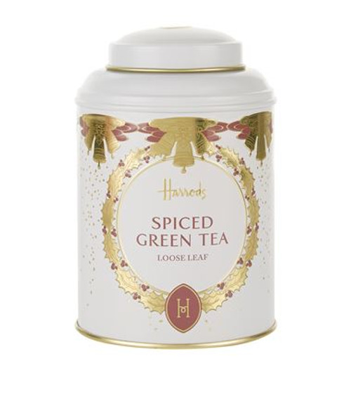 DETAILS  Loose leaf green tea with Christmas spices; •Presented in a Harrods tin; 125g OVERVIEW  Christmas in a cup, this sweet and light Chinese green tea has been flavoured with spices including cinnamon, cloves, orange and ginger, to create a smooth and spicy Christmas blend. Presented in a handsome Harrods tin, this loose leaf tea makes for a delightful treat or festive gift.  INGREDIENTS  Green Tea (80%), Cinnamon, Orange Blossom, Blackberry Leaves, Flavourings (Cinnamon, Vanilla, Christmas Cookie, Ginger), Clove Buds, Ginger, Cardamom Seeds, Safflower, Natural Orange Flavouring, Natural Clove Flavouring.