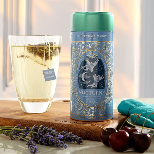 Mellow, clear and bright, our Nocturne Botanical Infusion combines calming notes of lavender, valerian root and camomile with hints of cherry and lemon balm. Ideal for those rare moments of rest and relaxation.