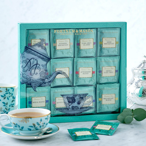 Never be far from an excellent cup of tea with this selection of tea bags containing Fortnums classic Famous Teas. The selection comprises Fortnum's Royal Blend, Breakfast Blend, Earl Grey Classic, Afternoon Blend, Queen Anne Blend, Jubilee, Irish Breakfast, Wedding Breakfast and Smoky Earl Grey. An excellent gift for tea devotees.