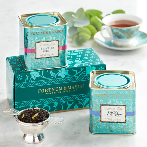For those who like their teas traditional but not plain, this elegant pairing of Fortnum's delicate Countess Grey, Smoky Earl Grey with a touch of Lapsang and Gunpowder tea, combining the best qualities of all three, make something most satisfactory.