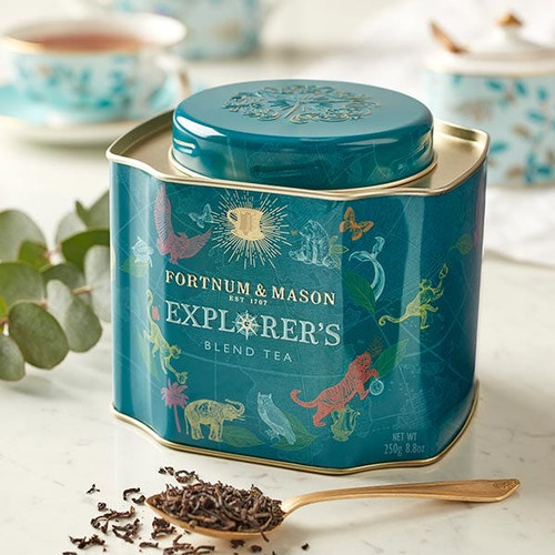 Inspired by centuries of round-the-world tea exploration, our Explorer's Blend is made with the finest leaves picked from the four corners of the tea-growing map – from delicate Ceylon Orange Pekoe and brisk equatorial Kenyan, to heady Indian Assam and floral Chinese Jasmine-scented Green Tea. This loose leaf caddy is sure to turn your next teatime into a true adventure in extraordinary sipping.  Weight: 250g