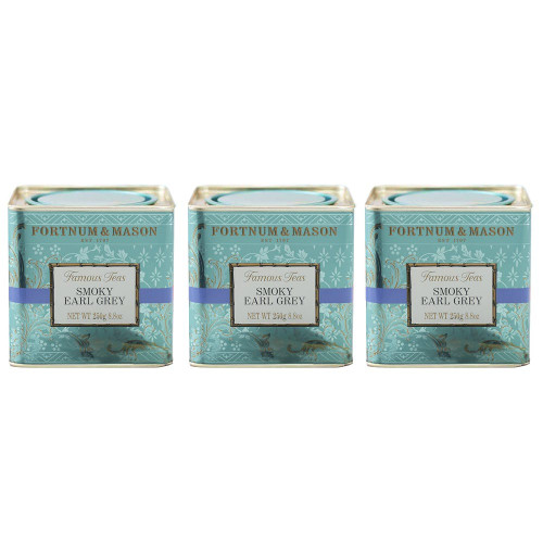 Created in response to a request from the Palace for a smokier Earl Grey, this unique blend of Tea Bags combines traditional bergamot with a touch of Lapsang and Gunpowder tea. For years its unique smokiness has been popular for very good reason.  This selection includes three 250g loose leaf tea caddies.