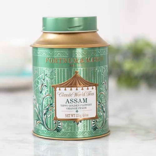 Assam tea, indigenous to India's steamy Brahmaputra Valley, is one of the world's oldest varieties. Made from the delicate leaf tips of the Assam tea bush, its full-bodied and robust character makes it an ideal companion to a really special breakfast.