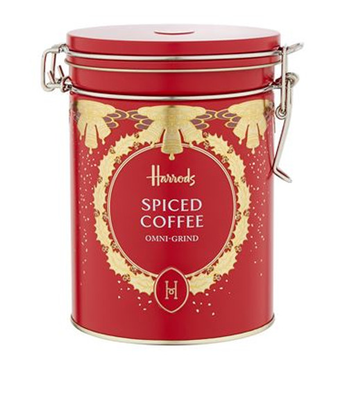 DETAILS  Spiced ground coffee Presented in a Harrods keepsake tin OVERVIEW  A warming drink for the festive season, our luxury spiced coffee has been crafted with the finest Brazilian Arabica coffee beans and boasts a rich omni-grind and medium-roast flavour with hints of pumpkin, cinnamon and gingerbread. Simply add one dessert spoonful to a cup of boiling water and enjoy.  INGREDIENTS  . Arabica coffee (98%), flavourings.