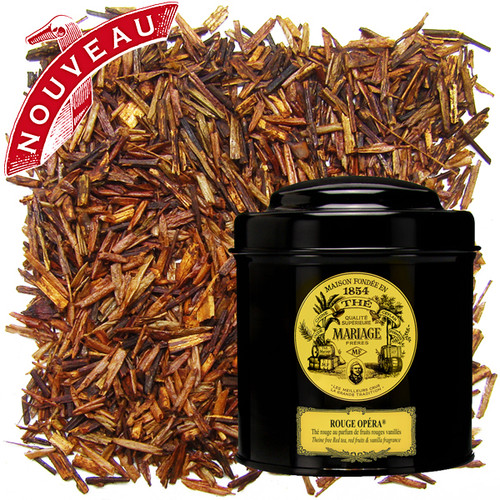 Melodious fragrance of red fruits and precious spices crowned by vanilla and the soft, sweet counterpoint of red tea.   Naturally theine-free.