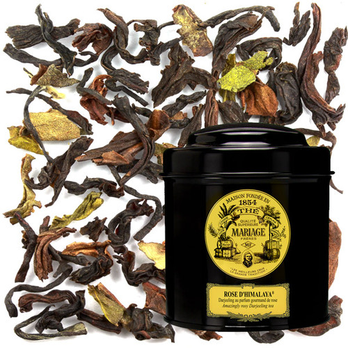 """Darjeeling """"Rose d'Himalaya®"""", an extraordinary tea known for its subtle fragrance of rose.    A fine mist of essential rose oil is blended with the freshly cut leaves to further pronounce the delicate rose aroma naturally present.   Pleasant notes of ripened fruit (Muscatel grape) and stewed citrus float along the subtle rose flavour while a malty, prolonged finale evokes cacao bean."""