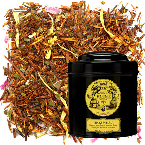 This rooïbos from South Africa, naturally free of theine, is blended with mint leaves and rose petals, creating a contrast between the gentle, enveloping undertones of red tea and the fresh, peppery, aromatic notes of mint, modulated by the flowery, sparkling effect of rose petals.