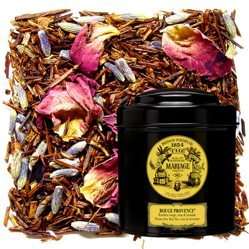Theine-free, red tea  blend.   The aroma of red and black berries is wed to the sweet, mild flavour of the tea leaves, underscored by wild lavender and enlivened by rose petals.