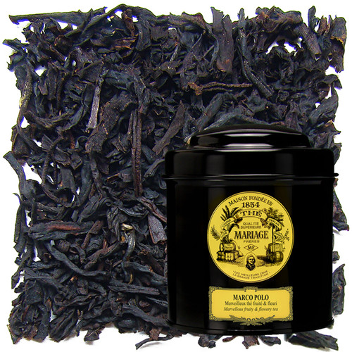Mariage Frères' overwhelming success is a mysterious blend that will take you to distant lands and unforeseen territories.   Fragrances of Chinese and Tibetan flowers lend it a uniquely velvety taste.   Its extraordinary bouquet makes Marco Polo the most legendary of flavoured teas.