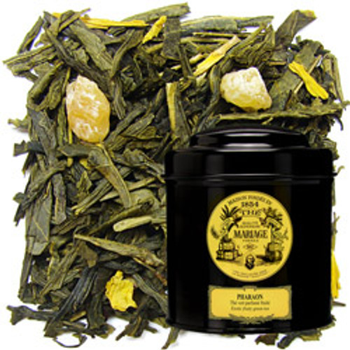 Since the dawn of time, the Pharaoh has ensured harmony between men and the heavens while eliciting prosperity for his subjects.   To celebrate his grandeur, Mariage Frères has blended a sumptuous green tea with fruits from the Nile delta in which candied mango and pineapple proliferate.   An eternally divine tea.