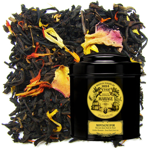 « Golden Mountain » is a felicitous blend of traditional flavoured teas from China with fruits from the mountains of the Golden Triangle.   A precious tea.
