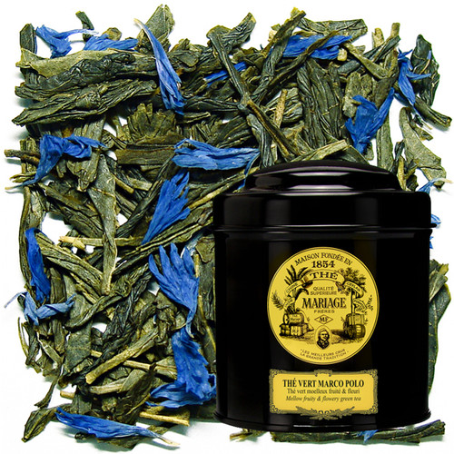 To celebrate the third millenary, MARIAGE FRÈRES added a new chapter to its long saga of creating special blends.   A green tea was carefully chosen for its smooth, natural flavour, then wed to secret fragrances of fruit and flowers from China and Tibet, as already made famous by the 'Marco Polo' blend.   A tea typical of French connoisseurship.