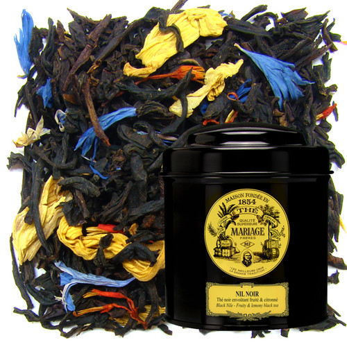 This whole-leaf black tea produces a brown liquor with a grand, fruity scent.   The gentle roundness of the black tea is blended with accents of citrus and other fruits highlighted by hints of citronella.