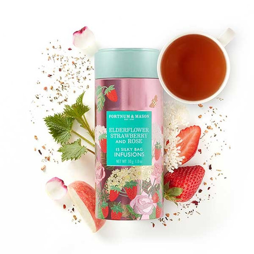 Inspired by the scents and tastes of an English summer garden, Fortnum's Elderflower, Strawberry & Rose Infusions Tea combines a naturally sweet taste and floral aroma to make an infusion essential for sunny day sipping, al fresco.  Contains 15 Silky Tea Bags