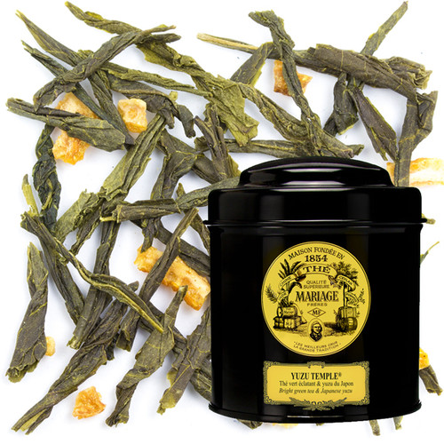 This surprising blend, with its evocative name, is based on a fine green tea.   It boasts the pleasantly round acidity of citrus fruit, the aromatic richness and peppery notes of mild spices, plus the rind of real Japanese Yuzu (halfway between lemon and mandarin orange).  Resolutely exotic.