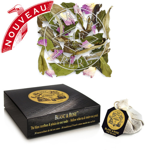 Chic and magnifique: a legendary blend of white tea and tender Oriental rosebuds.   From the crystalline infusion exhales a delicate floral aroma, velvety and cool, that flows over the palate like silk.   Royal-tea!