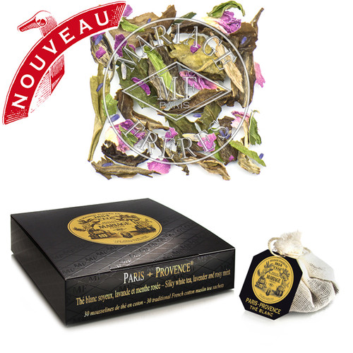 Paris–Provence is a floral white tea married to zesty and fruity lavender, mingled with sweet spearmint and tender rose – airy, sensual and dashing.   Unbelievably elegant.