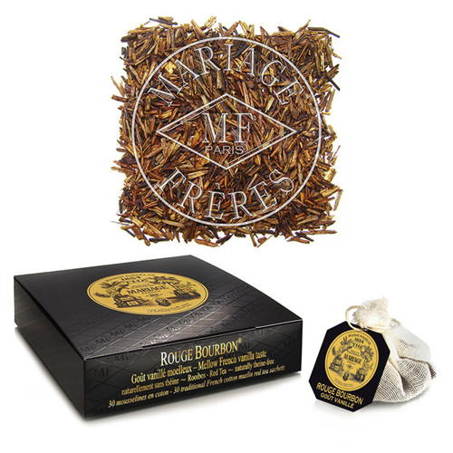 Flavoured with 'Bourbon vanilla', this red rooibos displays great finesse.   Delicate aroma, subtle taste.   100% theine-free.