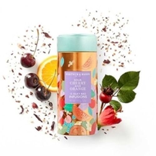 A bright pink infusion with a lovely tart-sweetness, vivid notes of cherry and sun-ripe orange, and a gorgeous almond-like aftertaste. Fortnum's Sour Cherry & Orange Infusions Tea truly is a rich and fruity any-time-of-day drink.  Contains 15 Silky Tea Bags