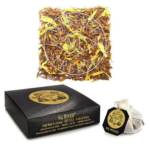 Scents of citrus, Oriental spices, and marigolds complement this 'Red Nile' tea, extending a voyage begun with Thé sur le Nil (T955).   Its simultaneously lively yet mild taste offers an exotic range of flavours for late-night dreams of distant lands.