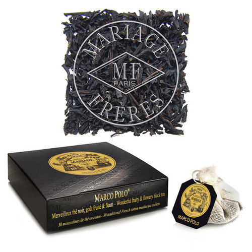 Mariage Frères ' most famous secret is this mysterious blend that takes you to distant lands.   The aroma of Chinese and Tibetan flowers and fruit lend it a uniquely velvety taste.   Its extraordinary bouquet makes Marco Polo the most legendary of flavoured tea