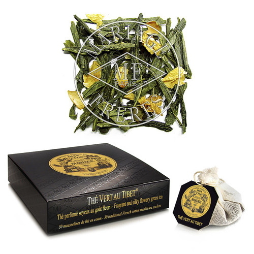 Green tea with floral (rose, jasmine) and citrus (bergamot, mandarin) fragrances, enhanced by a vegetal undertone held by the green tea.   The fragrant green jade leaves yield a bright, limpid, golden infusion, which carries you up to the rooftop of the world!
