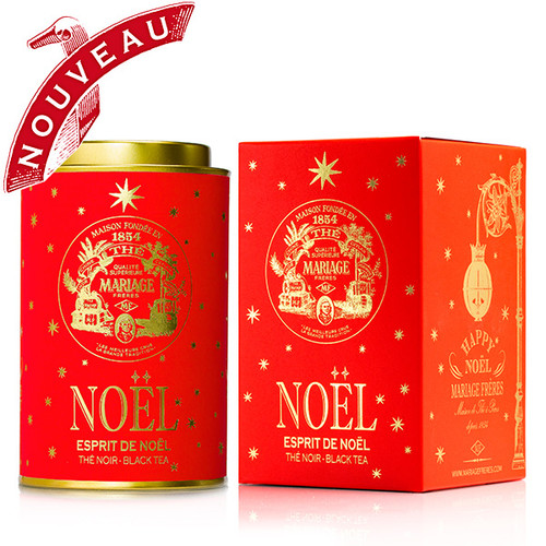 HAPPY NOËL - Limited edition  This new collection of five festive teas bestow colour, joy and twinkling stars under the Christmas tree.    ESPRIT DE NOËL® - Festive black tea with gold and silver stars   This vintage tea was first created 30 years ago from a black tea that sparkles with flashes of mandarin orange, cinnamon, almond, orange and Bourbon vanilla.   This iconic Mariage Frères tea remains peerless.