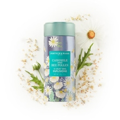A thoroughly unique blend of refreshing camomile, Fortnum's own Salisbury Plain honey and waxy-sweet bee pollen, this all-natural and gently-sweet Camomile & Bee Pollen Infusions Tea is a fresh-drinking delight.  Contains 15 Silky Tea Bags